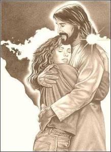 Jesus hugging a teen